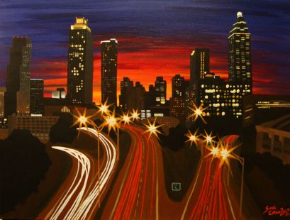 Atlanta skyline art, Atlanta art, Atlanta skyline painting, Atlanta painting, Atlanta