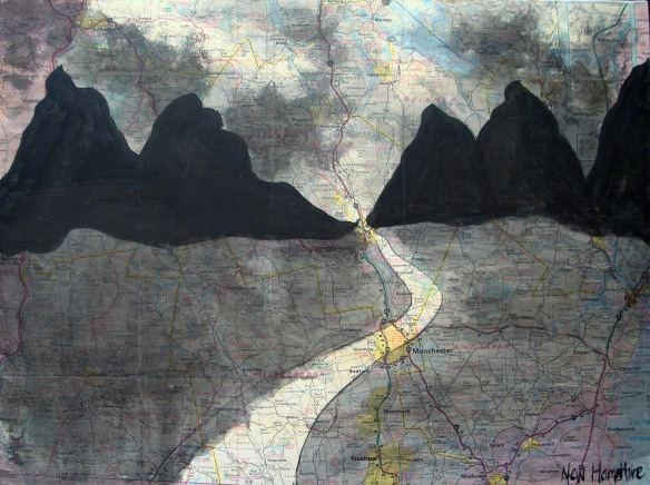 the road, art with maps