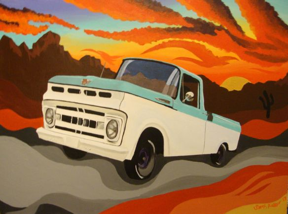 1961 ford f-100, antique truck paintings, antique trucks, Hunter s thompson bat country, psychedelic desert painting, desert sunset painting, bat country painting