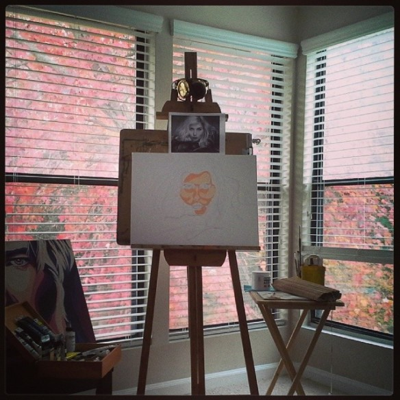 fall leaves, art room, easel, atlanta artist
